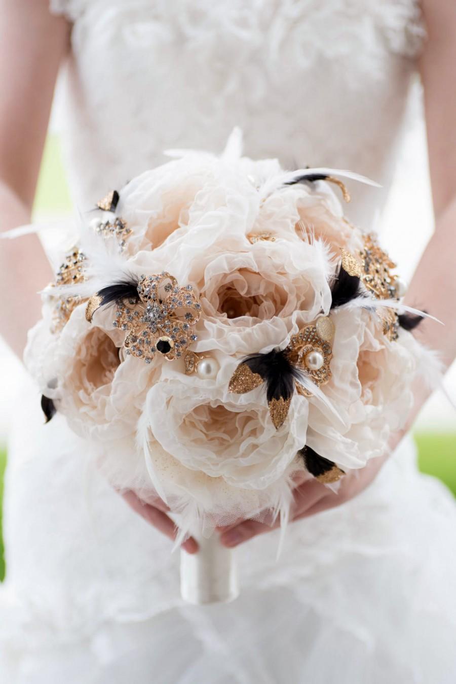 Hochzeit - Custom Black Gold Brooch Bouquet, Fabric Flower Bouquet, Fabric Bouquet, Bridal Bouquet, Wedding Bouquet, Great Gatsby - 11 inch Bouquet