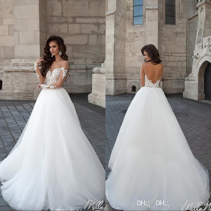 Milla nova marsela vintage backless wedding dresses sheer for Vintage backless wedding dresses