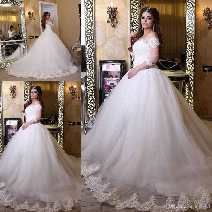 Ball Gown Wedding Dresses Long Trains : Charming lace applique edge long sleeve wedding