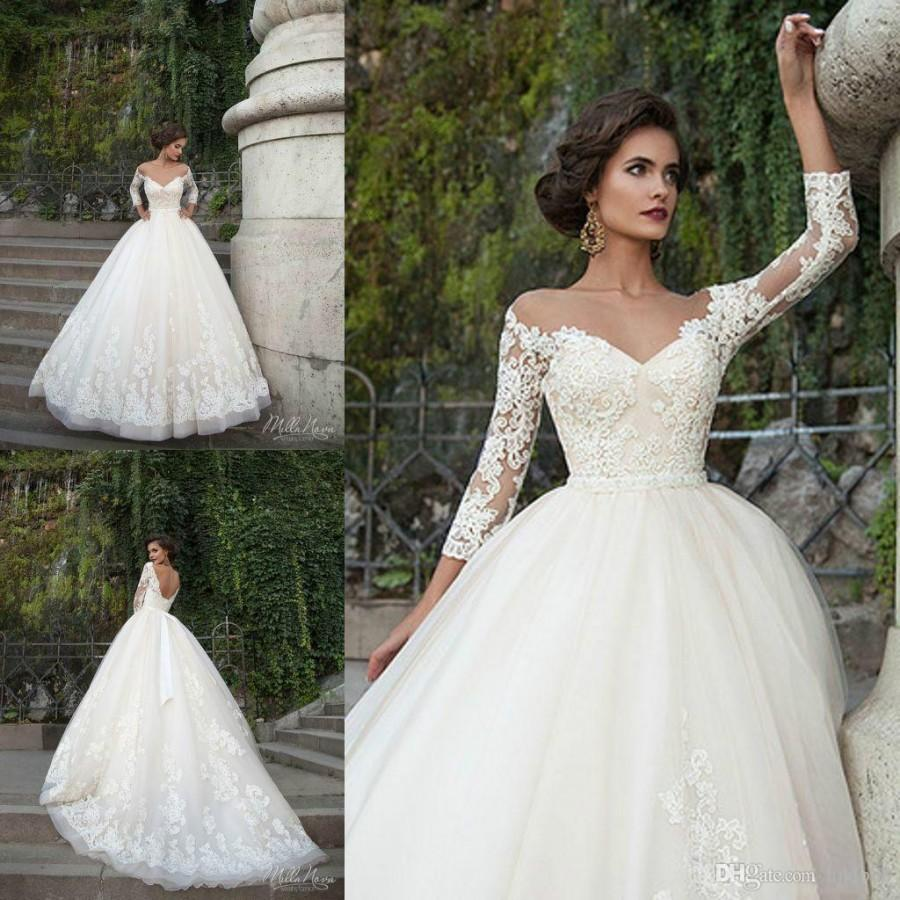 Sexy Milla Nova Wedding Dresses 20/20 Long Sleeve Sheer Illusion ...
