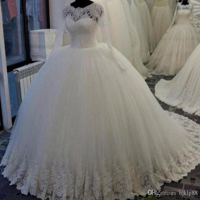 Princess Lace Bridal Ball Gowns Modest Country Wedding: Modest Robe De Soiree Princess Wedding Ball Gowns 2017