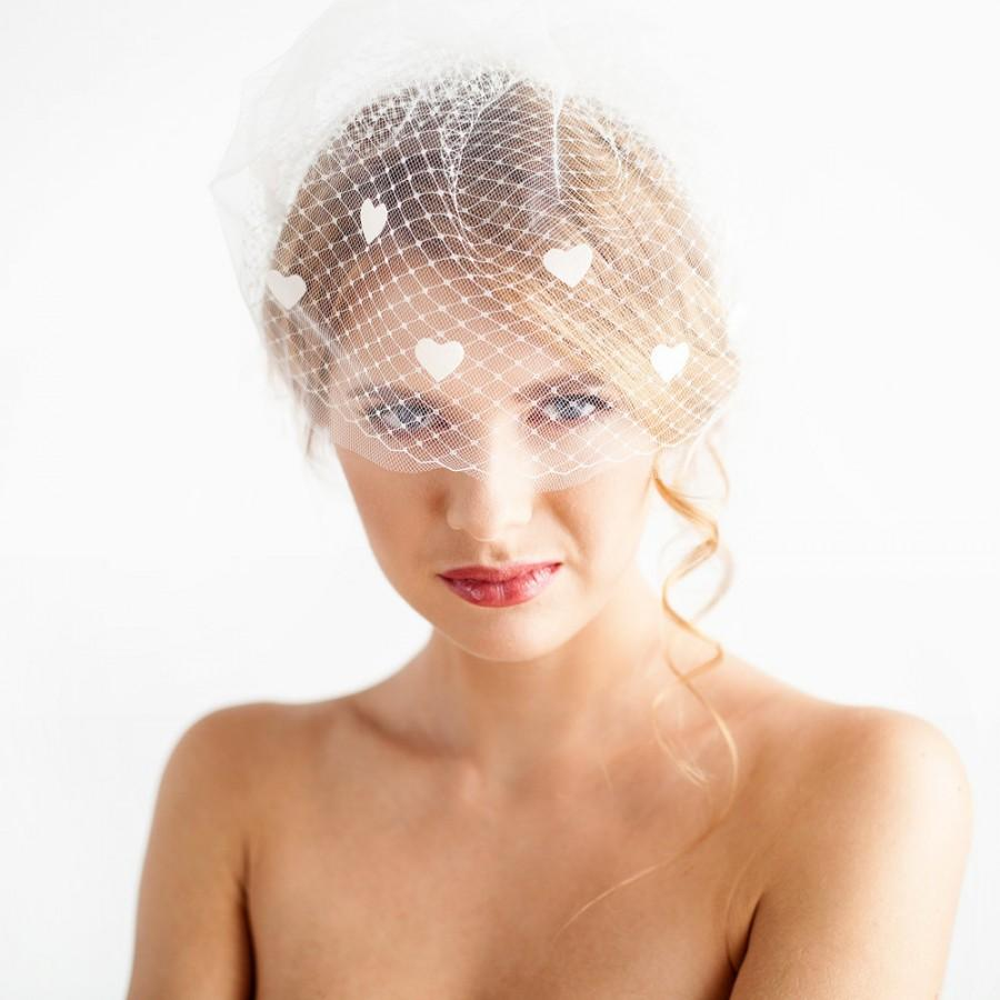 Свадьба - Double blusher veil with hearts - Bridal Birdcage Veil Double - Full Bridal Birdcage Veil - Ivory and White - Wedding Hair Accessories