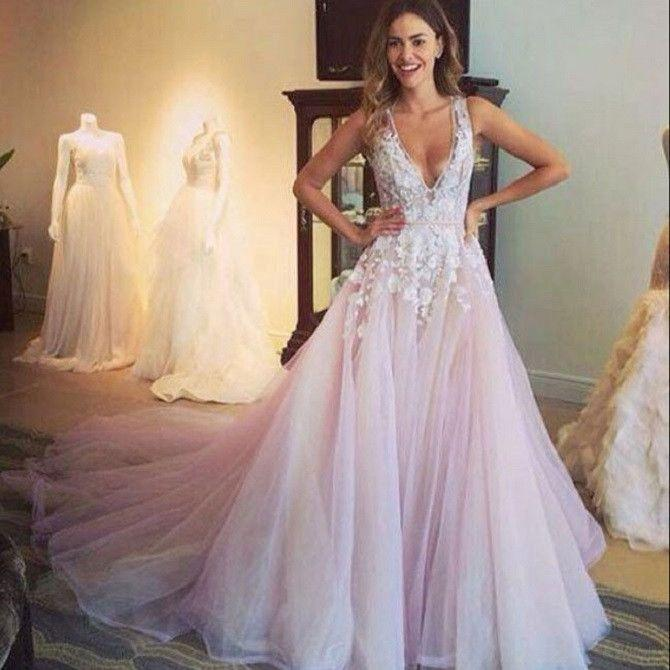 Wedding - A-line V-neck Sleeveless Flower Appliqued Light Pink Chapel Train Tulle Wedding Dress
