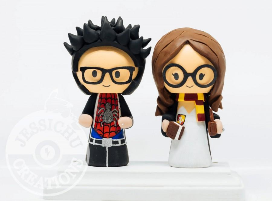 Spiderman Groom And Hermione Bride, Harry Potter Wedding Cake Topper ...
