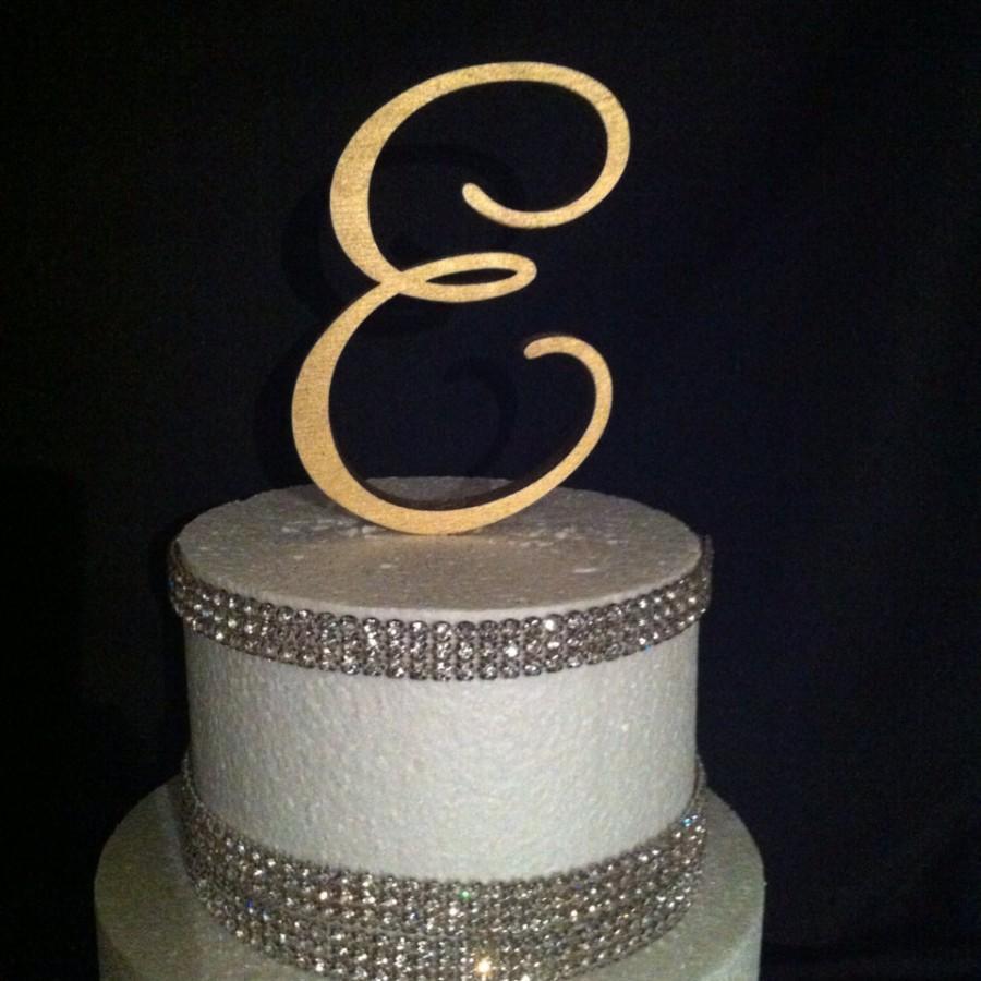 Wedding - Painted Single Monogram Cake Topper. Gold Cake Topper. Silver Cake topper. Wedding Cake Topper. Birthday Cake topper. Cake. Toppers.Monogram