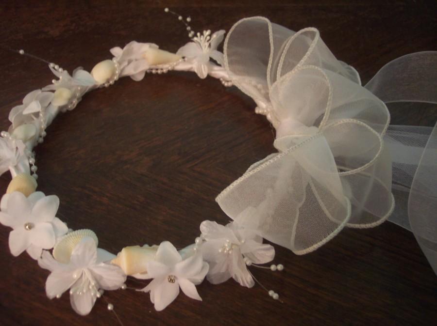 Wedding - Beach Wedding Flower Girl Seashells & Flowers Headpiece