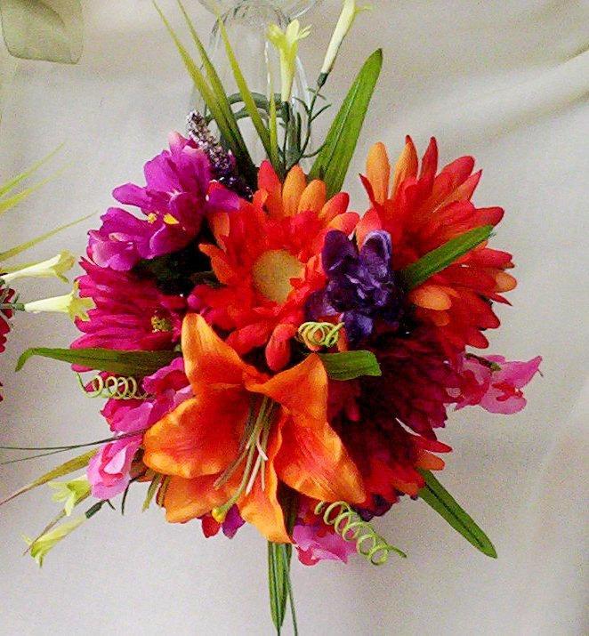 Destination Wedding Brides Maid Bouquet HOT Pink Orange Bouquet Silk ...