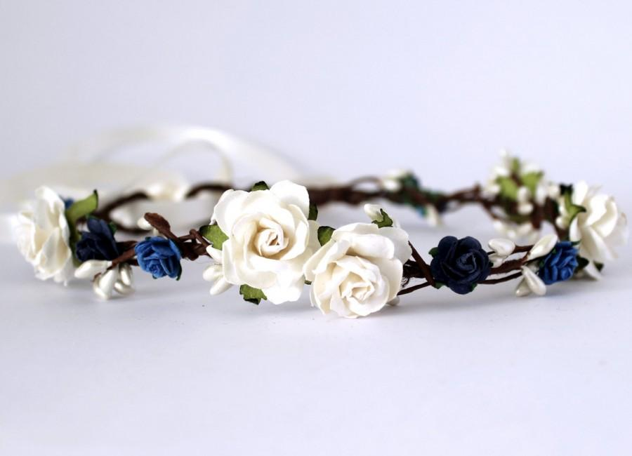 Wedding - Navy floral crown, ivory and blue flower girl floral crown, boho wedding, beach wedding, bridal floral crown, destination wedding