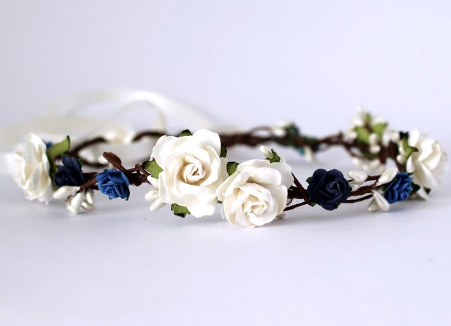 Dark Blue Rose Flower Headband Flower Crown Rose Crown Flower Halo Boho Festival