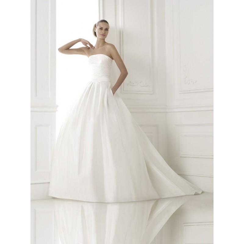 Mariage - Simple A-line Strapless Pockets Ruching Sweep/Brush Train Taffeta Wedding Dresses - Dressesular.com