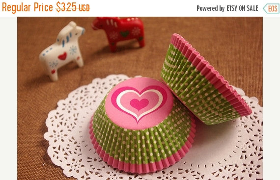 Wedding - YEAR END Sale 25% OFF Pink Heart Lime Polka Dot Cupcake Liners (50)