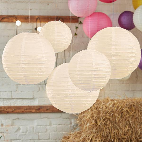 Wedding - Paper lanterns Ivory set, diy kit set of 5, Color choice, baby shower, Chinese lantern grey and yellow, baptism party, comformation