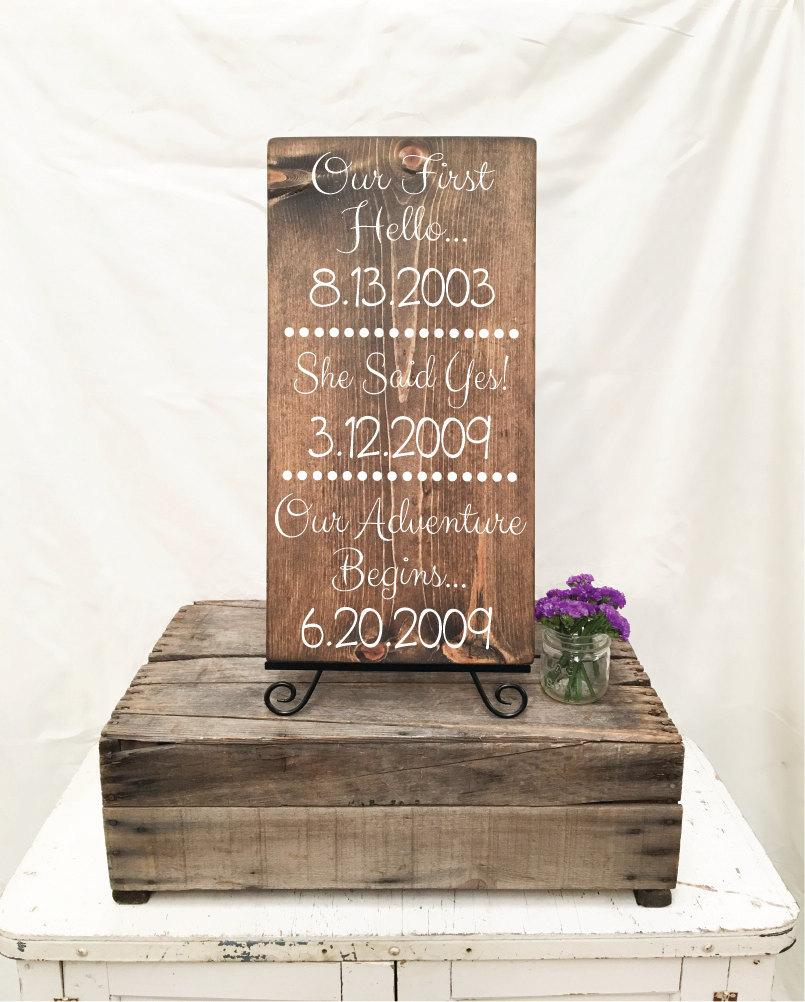 Wedding - Love Story Special Dates Sign in Walnut Stained Wood 12x23 (Our Adventure Begins)