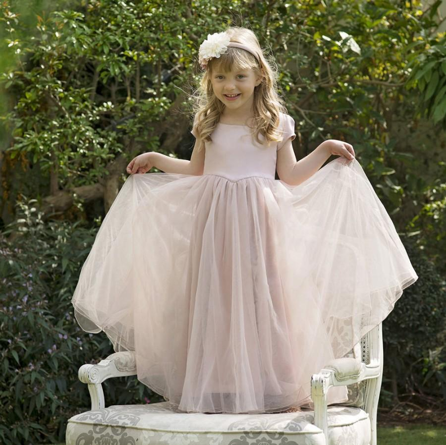 Light Pink Flower Girl Dress With Tulle Skirt The Sarah In Pink
