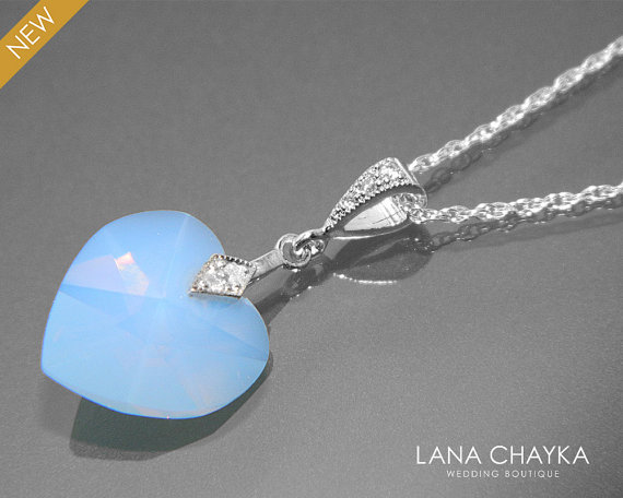 Wedding - Air Blue Opal Necklace Swarovski Crystal Air Blue Opal Heart Pendant Sterling Silver CZ Blue Opal Necklace Wedding Blue Heart Necklace