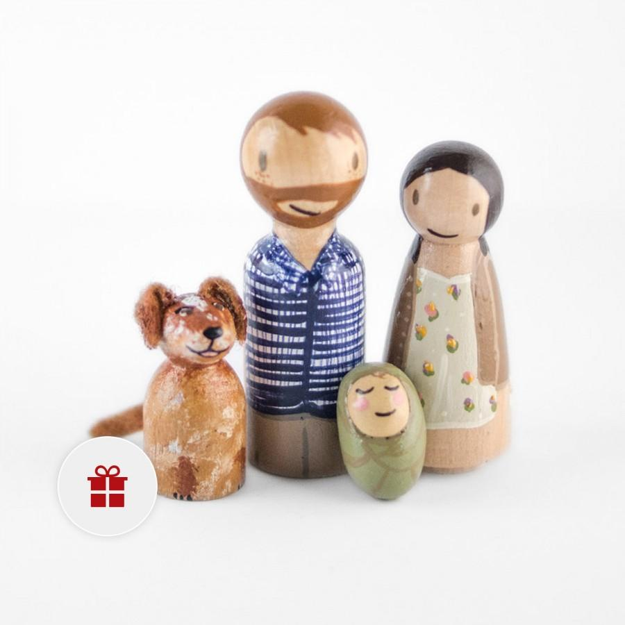 Wooden Peg Family With Dog