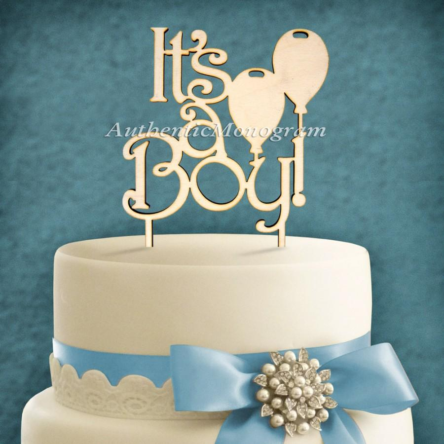 "Mariage - Wooden Unpainted Cake Topper ""It's a Boy"", Baby Decor Monogram, Initial, Celebration, Anniversary, Special Occasion, Nursery Decor 4119"