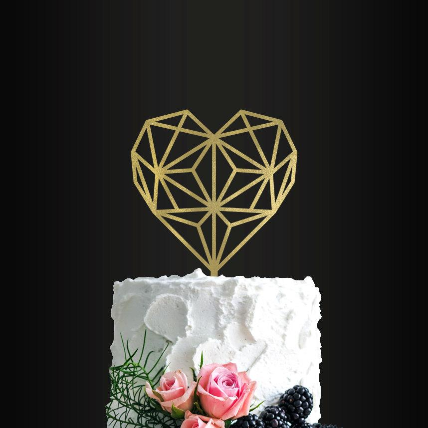 Mariage - Wedding Cake Topper, Geometric Heart, Cake Topper, Wedding Cake Decor