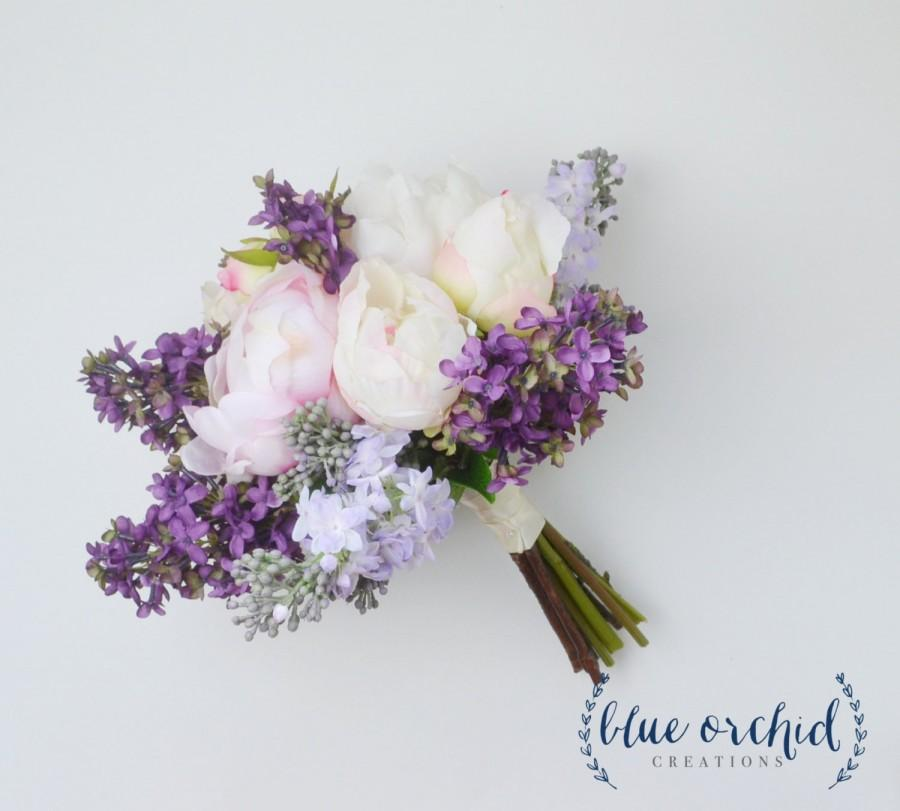 Wedding Bouquet - Lilac Bouquet, Peony Bouquet, Lavender, Silk ...