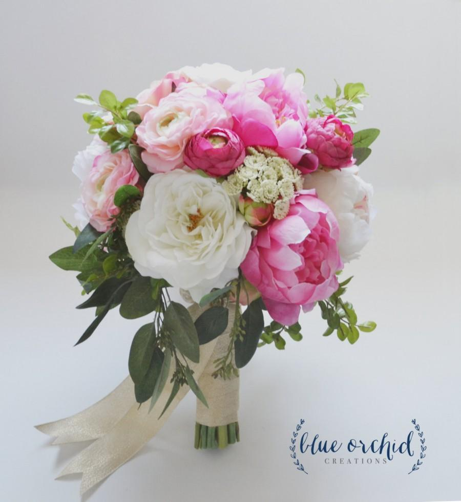 Mariage - Large Peony Bouquet with Garden Roses and Ranunculus in Pink and Cream with Greenery, Boho Bouquet, Bridal Bouquet, Silk Bouquet