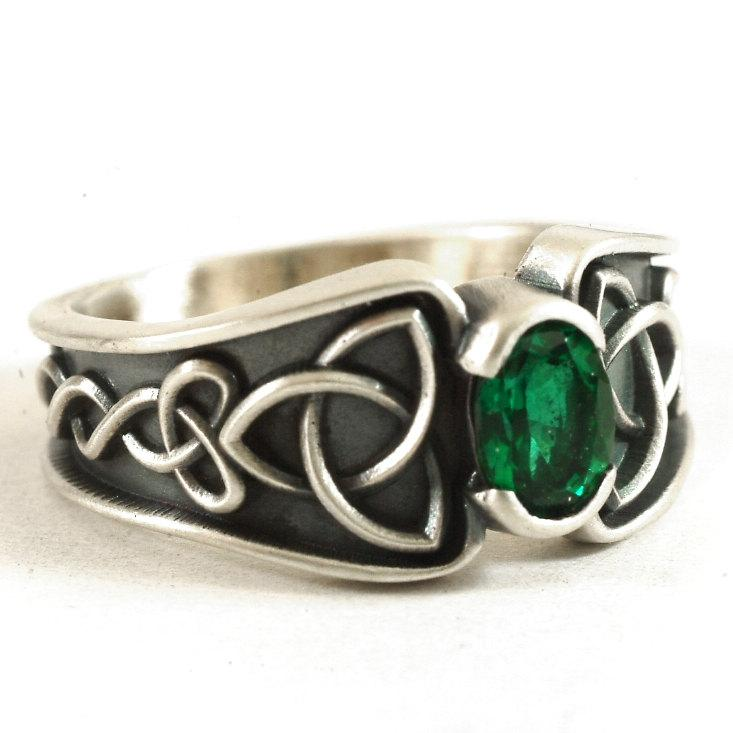 Celtic Ring, Green Chrome Diopside Ring, Trinity Knot Ring ...