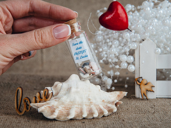 Wedding - personalized wedding favors Wedding favours Beach wedding bottle Mini beach theme gifts Save the date Cute seashell wedding favors