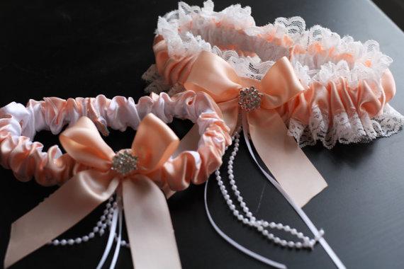Boda - Ivory Peach Bridal Garter Set  Ivory Lace Wedding Garter Set  Peach Toss Garter & Keepsake Garter  Lace Bridal Garters, Peach Prom Garter