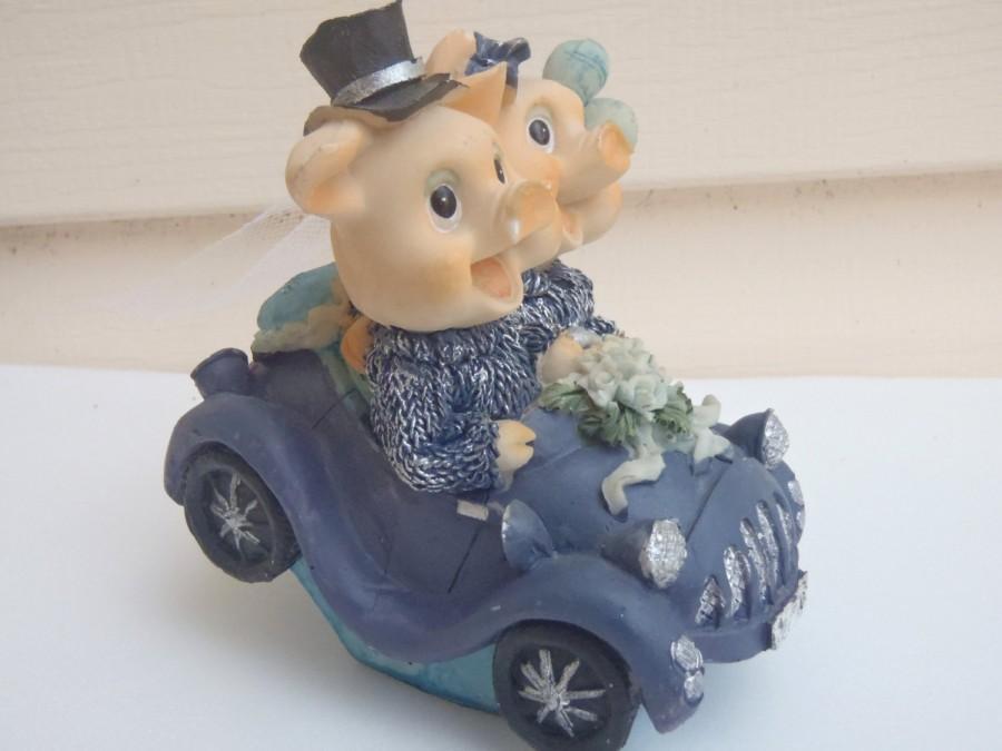 Mariage - Piggy Bride and Groom Cake Topper / Wedding Decoration