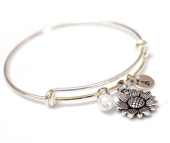 Mariage - Sunflower Bangle Bracelet, Silver sunflower, Silver Bangle Bracelet, Personalized bracelet, Initial bracelet, Initial Bangle Bracelet