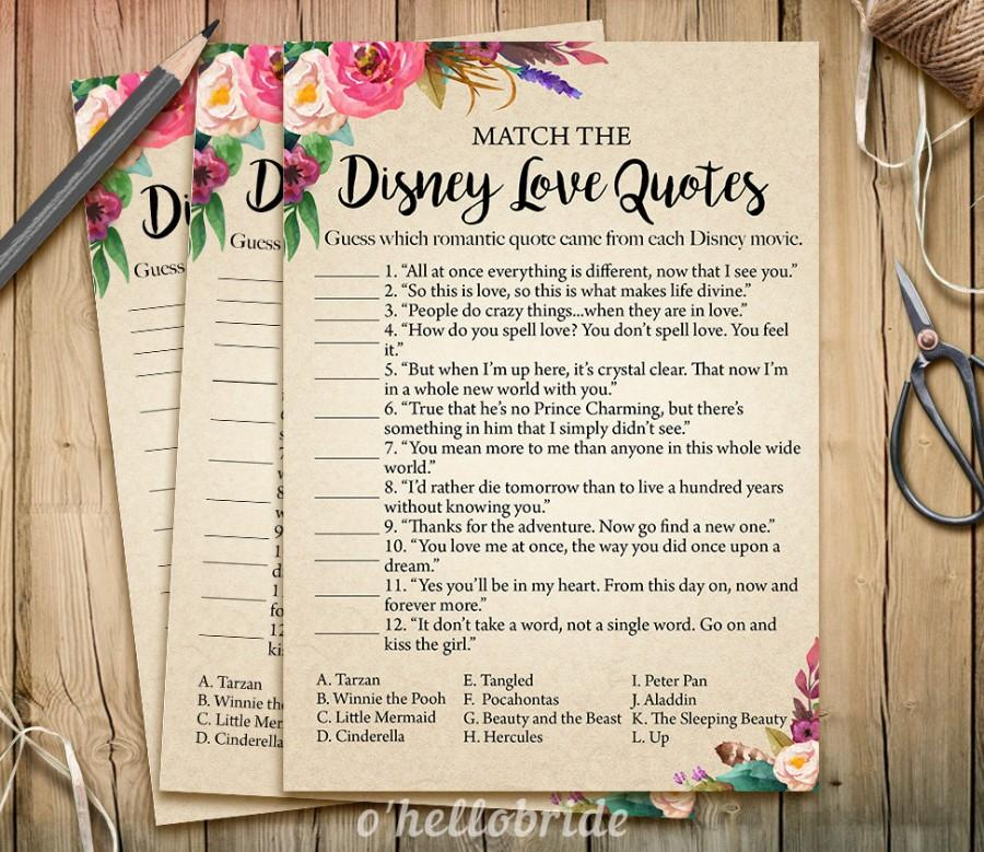 Disney Wedding Quotes Adorable Disney Love Quotes Match Game  Printable Boho Bohemian Bridal