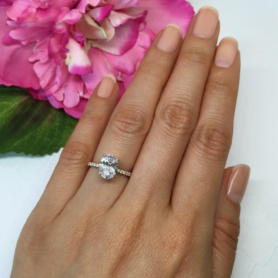 Wedding - New! 2 ctw Oval Accented Solitaire Ring, Blake Engagement Ring, Half Eternity Band, Bridal Ring, Man Made Diamond Simulants, Sterling Silver
