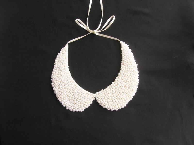 Свадьба - Handmade, white colored pearl, peter pan collar, collar necklace, wedding necklace