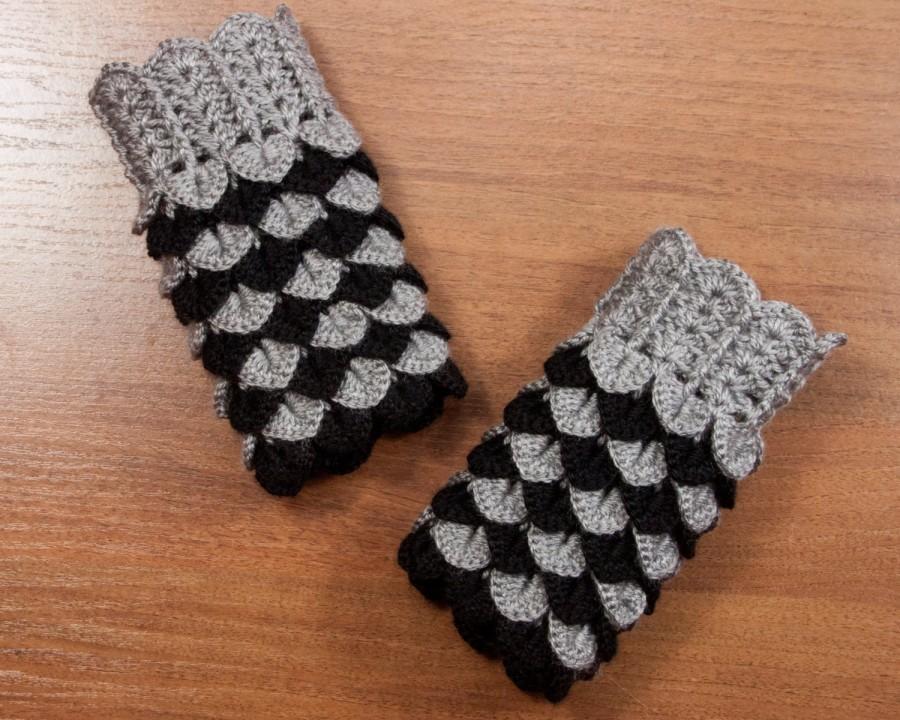 Dragon Scale Fingerless Gloves Dragon Gloves Crocodile Fingerless