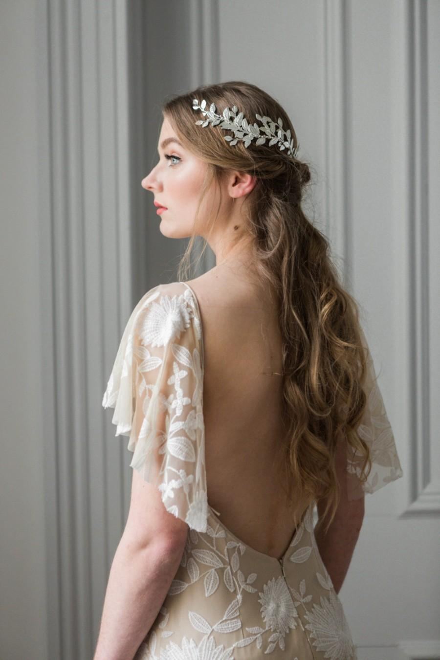 Wedding - Alena Wrap Headpiece, Silver leaf circlet, Gold Headpiece, bridal headpiece, leaf coronet, bohemian headpiece, boho, greek crown #240
