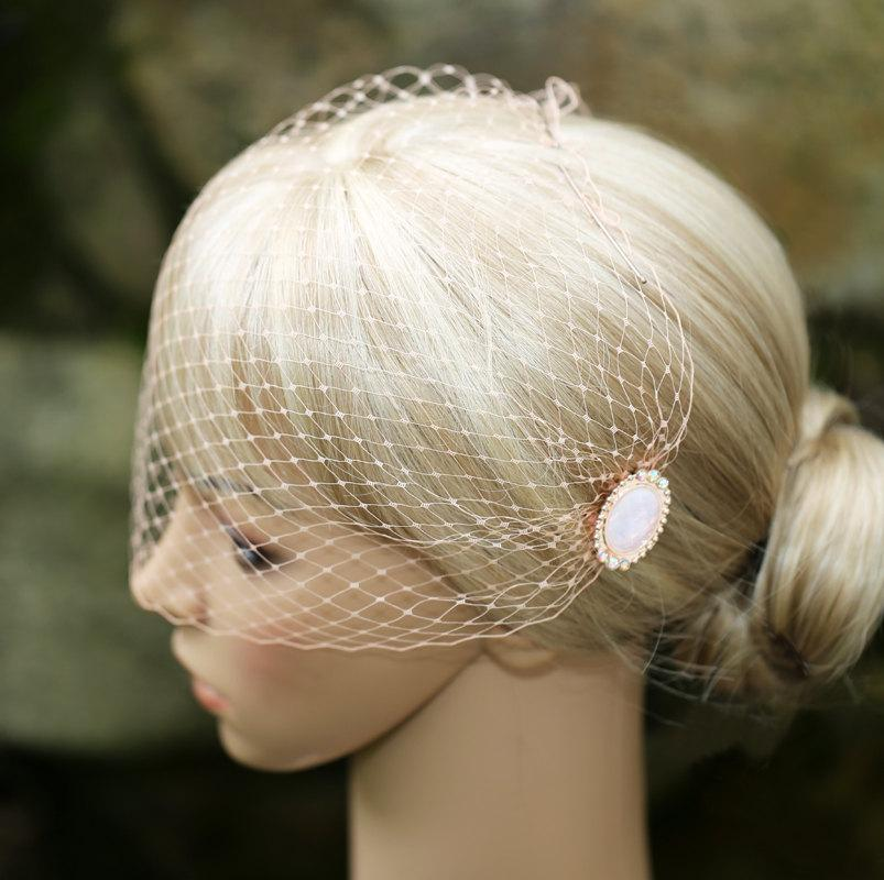 Wedding - Blush Pastel Peach Soft Birdcage Veil Bandeau Style Blusher 9 inch French Net On Decorative Hair Combs