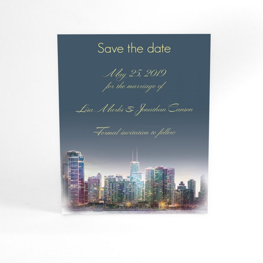 Mariage - Penthouse Dreams, Chicago skyline stylish wedding stationery save the date from watercolor, modern typography, custom wording, colors, ombre