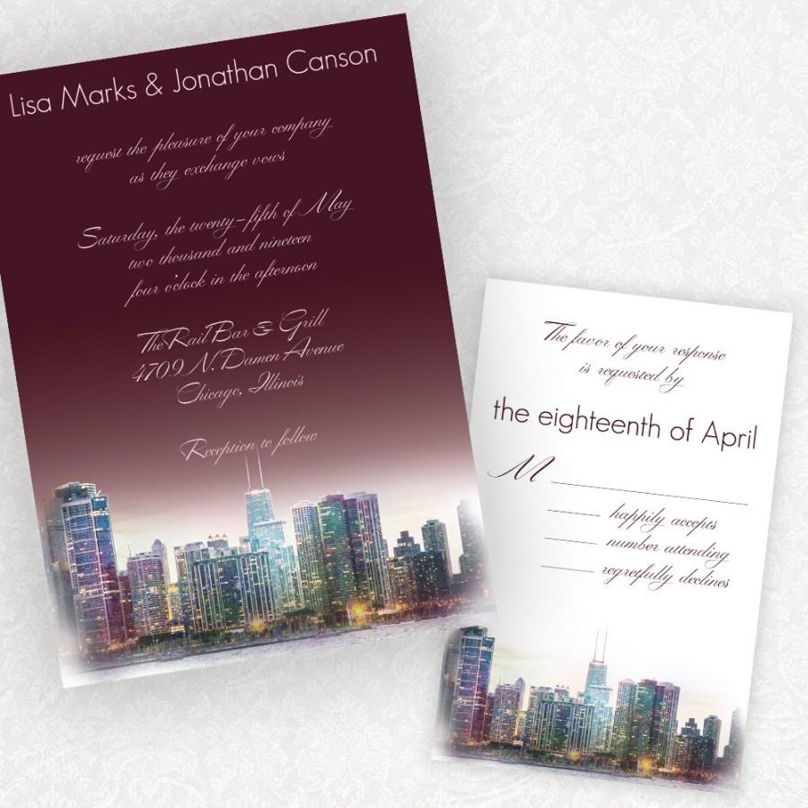 Penthouse Dreams Chicago Skyline Wedding Invitations From