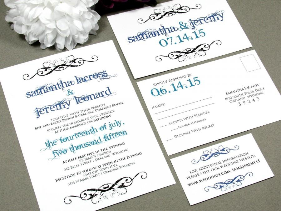 Mariage - Angelic Scroll Wedding Invitations Modern Invite Calligraphy Script Wedding Invitation Pocket Suite Teal and Purple Wedding RunkPock Designs