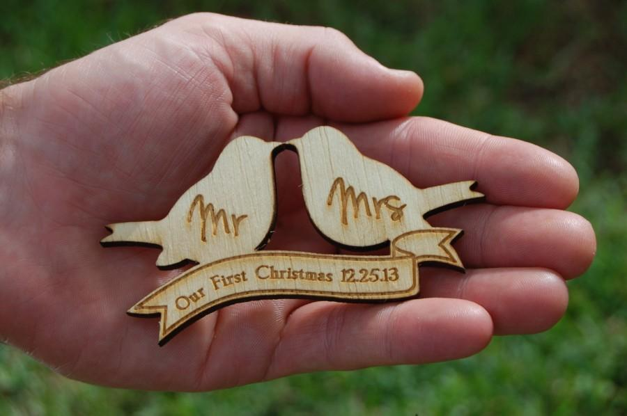 personalized christmas ornament engraved wood love birds with mr and mrs our first christmas rustic home decor gift