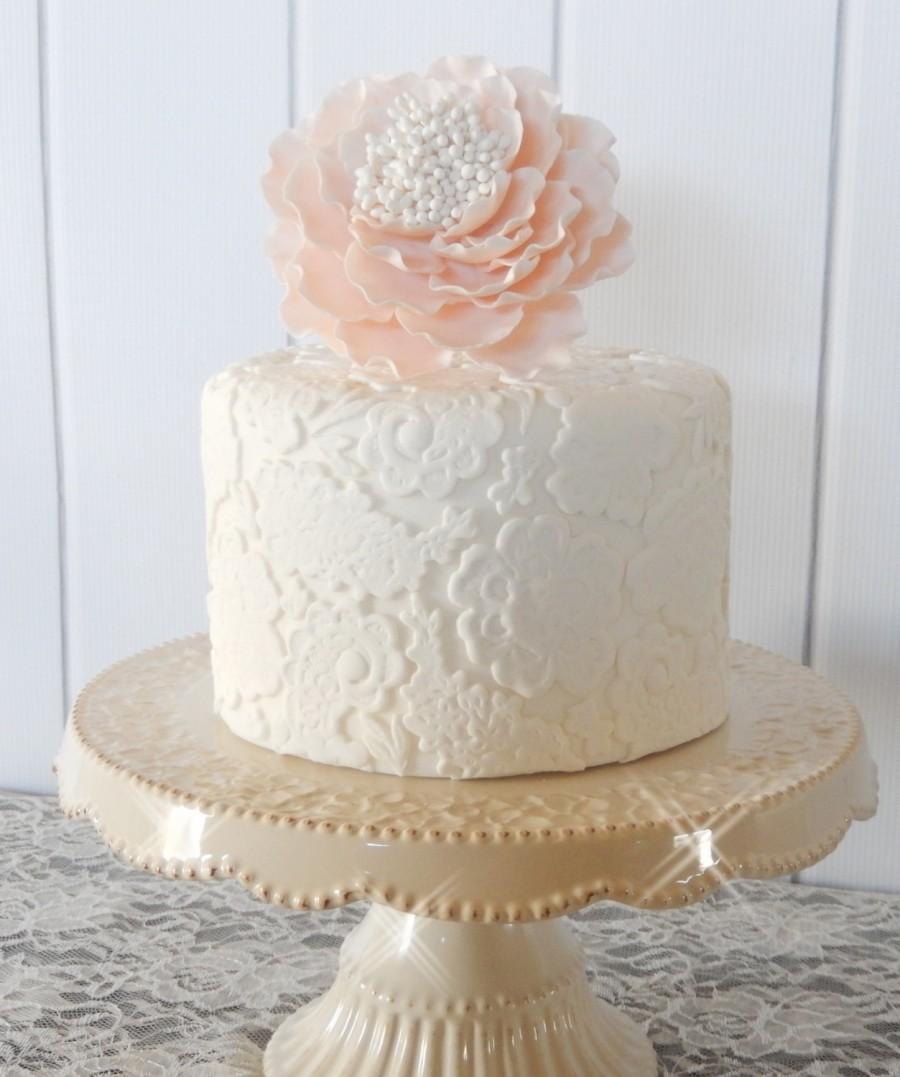 Wedding - Blush Pink Sugar Gumpaste Peony Wedding Cake Topper