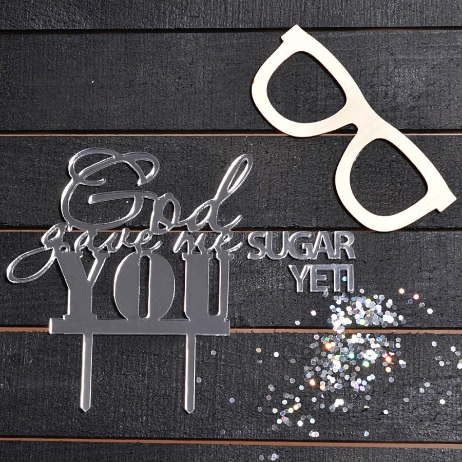 Mariage - Calligraphy Wedding Cake Topper - God Gave Me You - Made in CA, USA (Calligraphy / Custom-made / Wedding decor / Engagement decor / God)