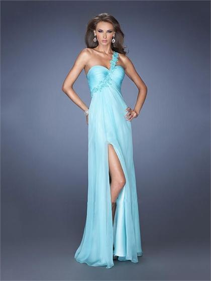 Wedding - One Shoulder Sweetheart High Slit Cutout Back Floor Length Chiffon Prom Dress PD2609