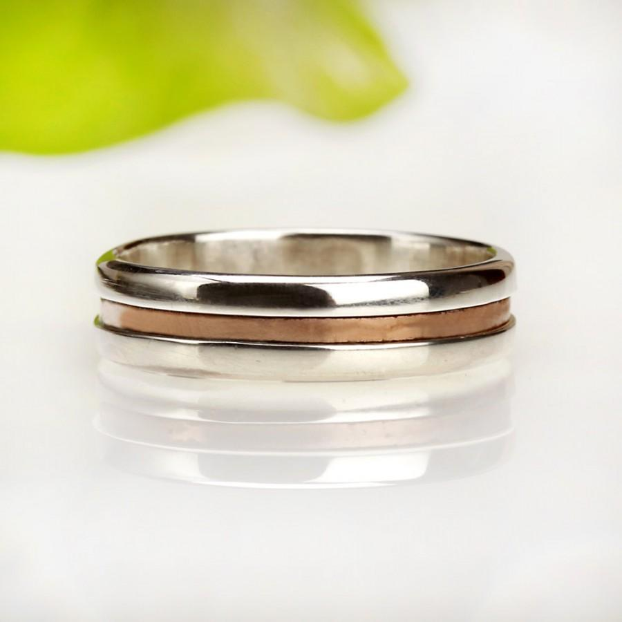 Mens Wedding Band Sterling Silver Ring Silver Copper Ring