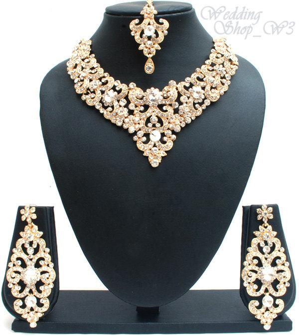 gold crystal british wedding item elegant earrings liffly bridal four simple fashion jewelry set necklace sets