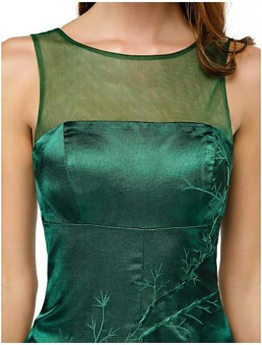 Wedding - Australia Cocktail Party Dress Dark Green A-line Scoop Short Knee-length Charmeuse Formal Dress Australia - Formalgownaustralia.com