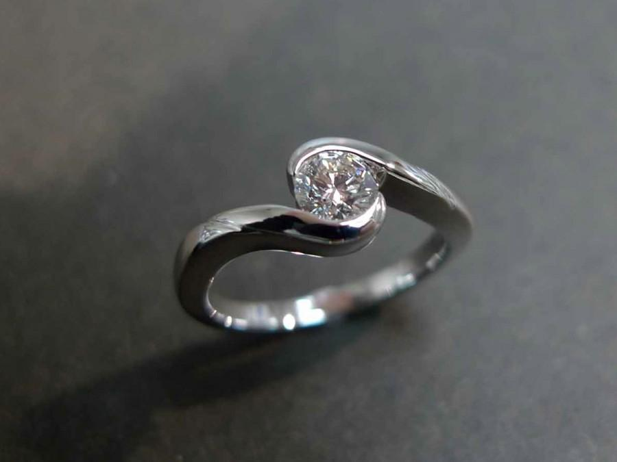 Mariage - 0.40ct Diamond Solitaire Engagement Ring in 14K White Gold