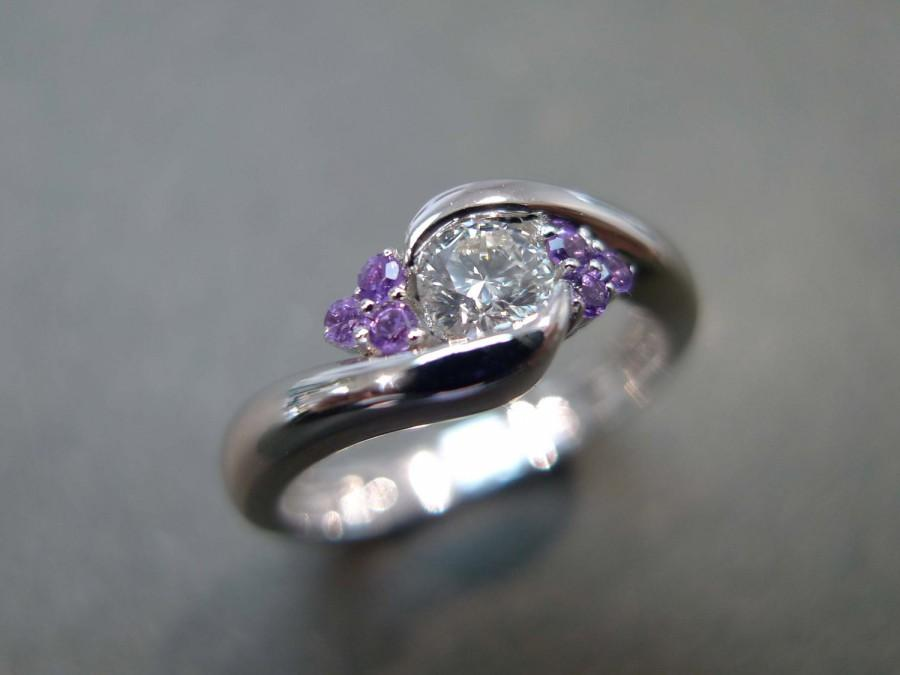 Beau Diamonds Wedding Ring With Amethyst, Amethyst Ring, Amethyst Diamond Ring, Amethyst  Diamond Engagement Ring, 0.25ct Diamond 14K White Gold