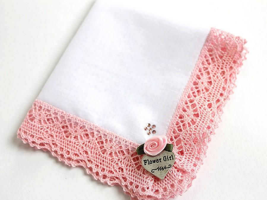 Wedding - Personalized Flower Girl Gift Hanky with Swarovski Crystals, Pink Custom Wedding Lace Handkerchief, Bridal Party Gifts, Reherseal Dinner