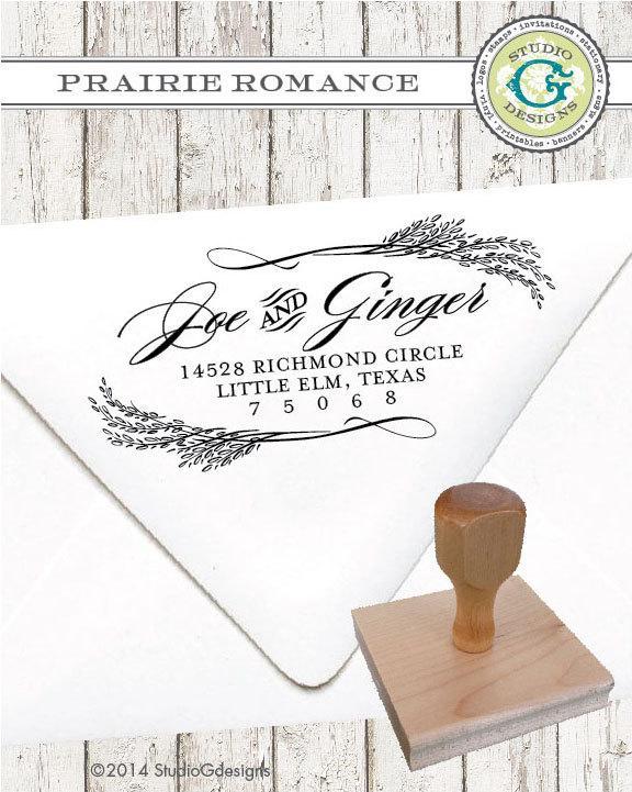 زفاف - Return Address Stamp – 1.5x3 inch PRAIRIE ROMANCE – Personalized Wedding Paper Goods