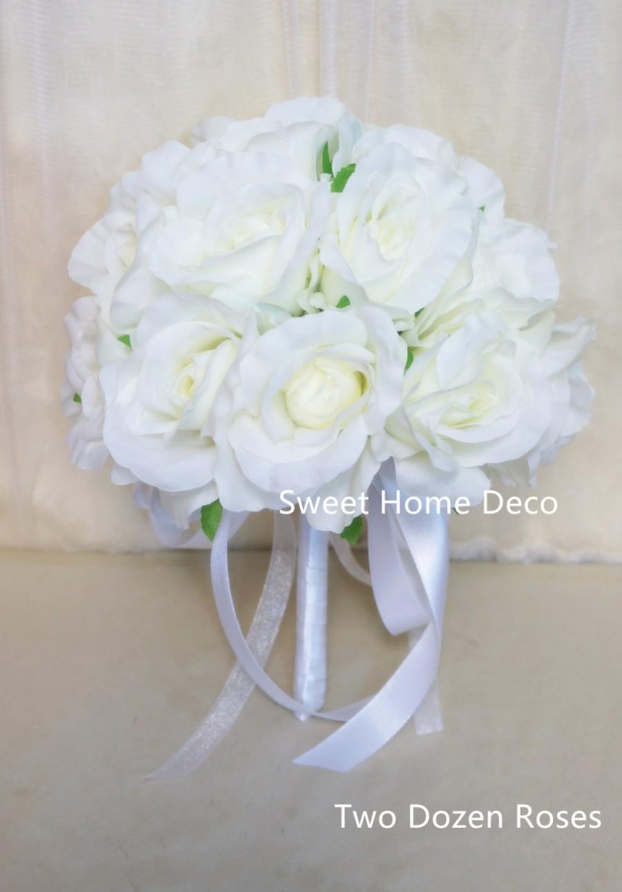 Jennysflowershop One Dozentwo Dozen Soft Silk Rose Wedding Bouquet